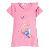 "12-59207-1 ""Coffee"" Футболка для девочки, 5-9 лет, розовый"