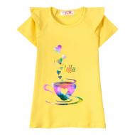 """12-59207-3 """"Coffee"""" Футболка для девочки, 5-9 лет, жёлтый"""