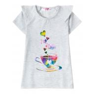 """12-59207-6 """"Coffee"""" Футболка для девочки, 5-9 лет, меланж"""