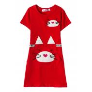 12-37201-1 Платье для девочки, 3-7 лет, алый