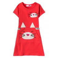 12-37201-4 Платье для девочки, 3-7 лет, красный