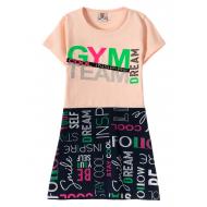 """12-3793-1 """"Gym team"""" Платье для девочки, 3-7 лет, коралл"""