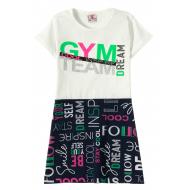 """12-3793-4 """"Gym team"""" Платье для девочки, 3-7 лет, белый"""