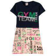 """12-3793-5 """"Gym team"""" Платье для девочки, 3-7 лет, т.синий"""