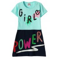 """12-3795-1 """"Girl"""" Платье для девочки, 3-7 лет, ментол"""