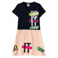 """12-3796-6 """"Do It"""" Платье для девочки, 3-7 лет, т.синий"""