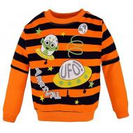 14-251105 Джемпер в полоску для мальчика, 2-5 лет, оранжевый