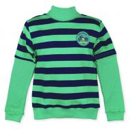 14-581312 Водолазка в полоску для мальчика, 5-8 лет, зеленый