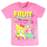 """15-140203  """"Fruit"""" Футболка для девочки, 1-4 года, розовый"""