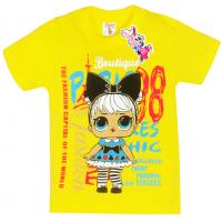 "15-140244  ""LOL Fashion"" Футболка для девочки, 1-4 года,желтый"
