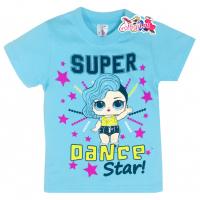 """15-140246  """"LOL Dance"""" Футболка для девочки, 1-4 года, бирюзовый"""