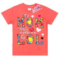 """15-140258 """"My Mom"""" Футболка для девочки, 1-4 года, персиковый"""