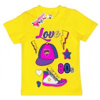 "15-140259 ""Love 80s"" Футболка для девочки, 1-4 года, желтый"