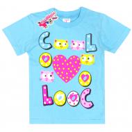 """15-140260 """"Cool"""" Футболка для девочки, 1-4 года, бирюзовый"""