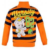 14-251306 Толстовка в полоску для мальчика, 2-5 лет, оранжевый