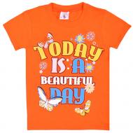 15-480202 Футболка для девочки, 4-8 лет, оранжевый
