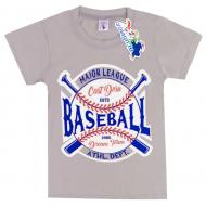 "15-8120105 ""Baseboll"" Футболка для мальчика, 8-12 лет, серый"