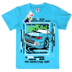 """15-480124 """"Hot Races"""" Футболка для мальчика, 4-8 лет, бирюзовый"""