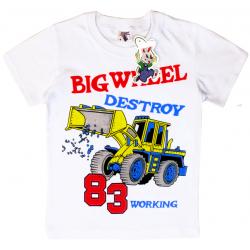 """15-480128 """"Big Wheeel"""" Футболка для мальчика, 4-8 лет, белый"""
