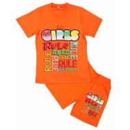 15-582223 Комплект для девочки, 5-8 лет, оранжевый