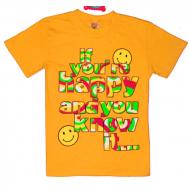 """15-8120216 """"Happy"""" Футболка для девочек, 8-12 лет, оранжевый"""