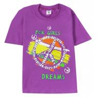 """15-8120217 """"Happy"""" Футболка для девочек, 8-12 лет, сиреневый"""