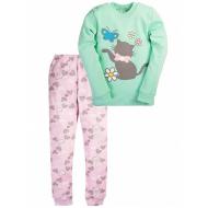 17-1322 Пижама для девочки, 2-5 лет, интерлок, ментол\розовый