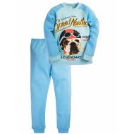 17-1326 Пижама для мальчика, интерлок, 6-9 лет, голубой