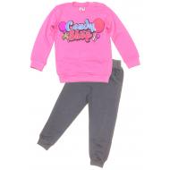 17-258208 Костюм для девочки, 2-5 лет, розовый\серый