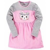 """17-37801 """"Кошка"""" Платье для девочки, 3-7 лет, розовый\меланж"""