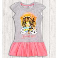 17-378011 Платье для девочки, 3-7 лет, розовый\меланж