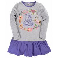 """17-37804 """"Цветы"""" Платье для девочки, 3-7 лет, серый\синий"""