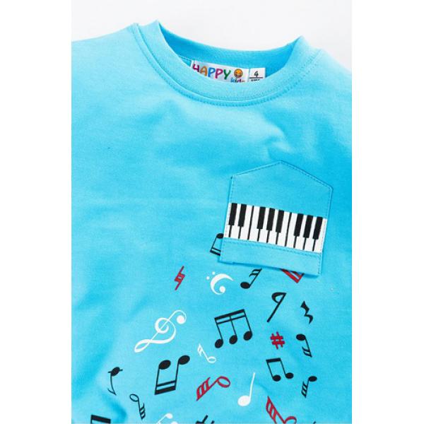"""10-141135 """"Music"""" Толстовка с нашивкой, 1-4 года, голубой"""