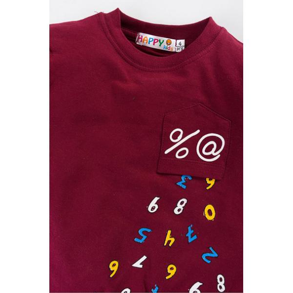 """10-141136 """"Number"""" Толстовка с нашивкой, 1-4 года, бордовый"""