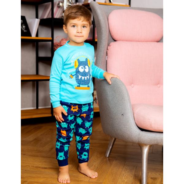 "11-258134 ""Little dinosaur""  Пижама, интерлок, 2-5 лет, синий*"