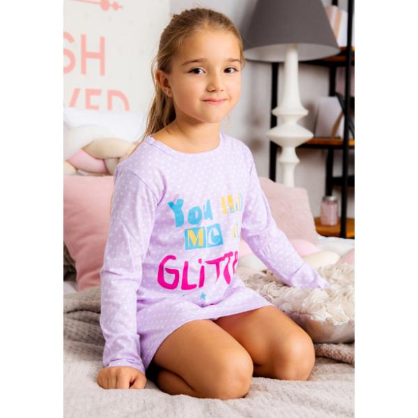 "11-37831 ""Glitter"" Сорочка для девочки, 3-7 лет, сиреневый"