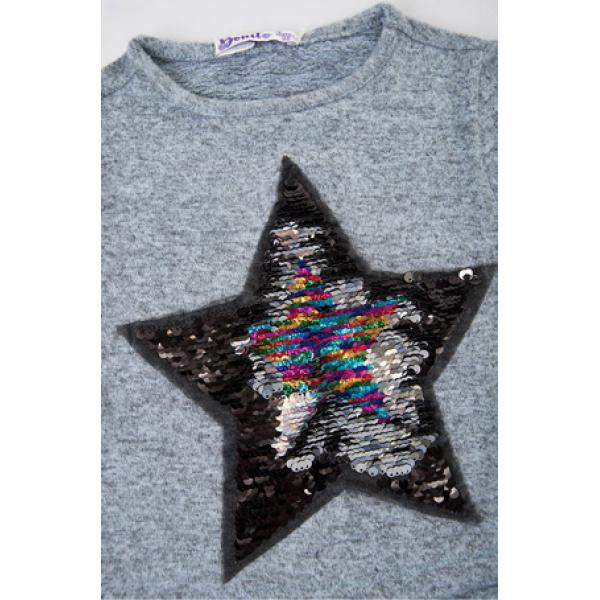 "20-23805 ""STAR"" Блузка с пайетками ""перевертышами"", 3-7 лет, серый меланж"
