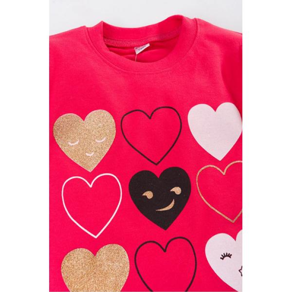 """20-46701 """"Heart"""" Джемпер для девочки, 5-8 лет, коралловый"""
