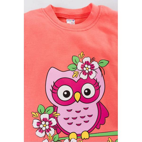 """20-46704 """"Owl"""" Джемпер для девочки, 5-8 лет, персиковый"""