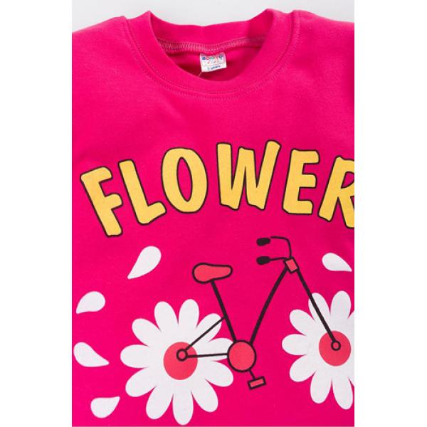 """20-46706 """"Flowers"""" Джемпер для девочки, 5-8 лет, малиновый"""