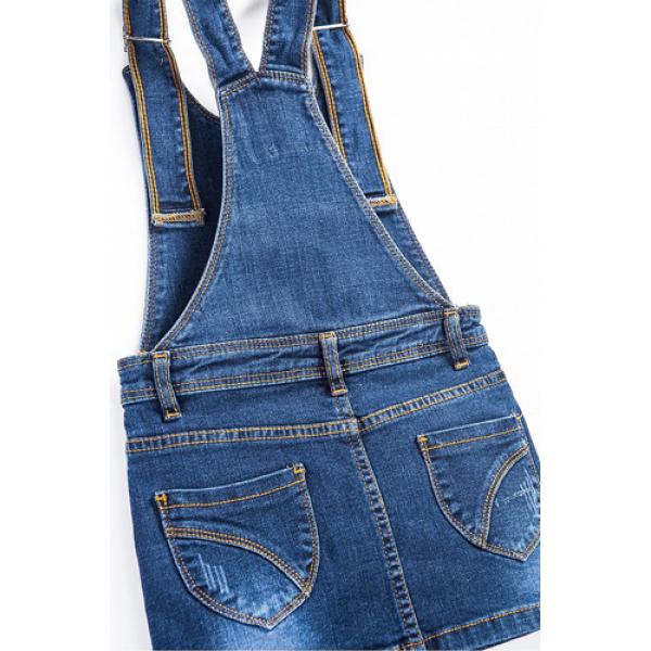 20-750  Сарафан для девочки, 3-7 лет, джинс, т.синий