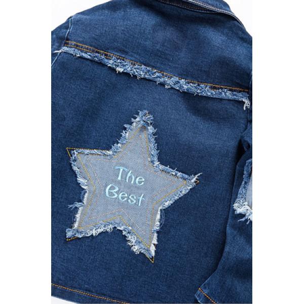 20-750  Куртка джинсовая для девочки, 3-7 лет, джинс, т.синий