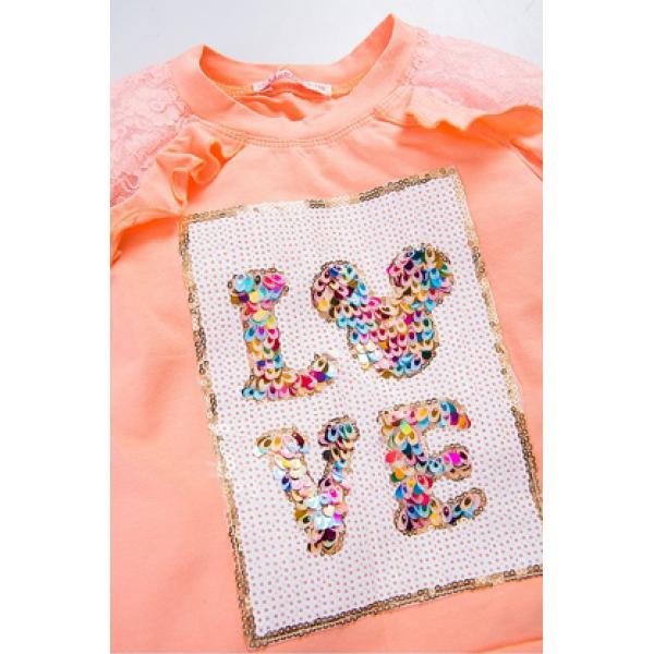 20-98702 Лонгслив для девочки, 3-7 лет, персиковый