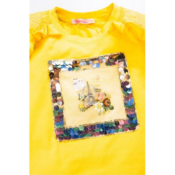 20-98705 Лонгслив для девочки, 3-7 лет, желтый