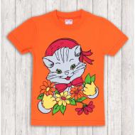 47-140213 Футболка для девочки, оранжевый, 1-4 года
