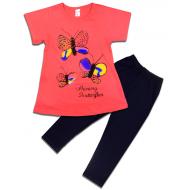 """47-575205 """"Butterfly"""" Комплект для девочки, 5-7 лет, коралловый"""