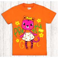 47-140225 Футболка для девочки, 1-4 года, оранжевый