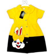 """47-370603 """"Зайка"""" Платье для девочки, 3-7 лет, желтый"""