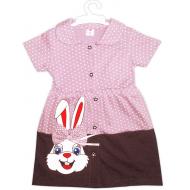 """47-370609 """"Зайка"""" Платье для девочки, 3-7 лет, пыльный розовый"""