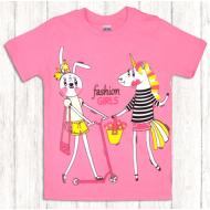 47-580201 Футболка для девочки, 5-8 лет, розовый